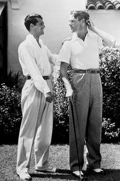 Cary Grant and Randolph Scott at their Malibu home, 1935