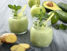 Quick, easy and oh-so-delicious avocado smoothie with apple-cucumber-ginger-lime. Try this healthy smoothie for breakfast or snack. Avocado Smoothie, Healthy Green Smoothies, Green Smoothie Recipes, Juice Smoothie, Breakfast Smoothies, Smoothie Drinks, Healthy Drinks, Healthy Recipes, Smoothie Detox
