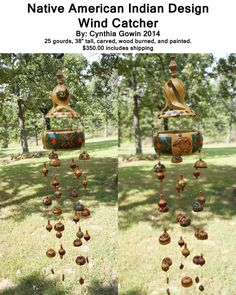 Indian design wind catcher 25 gourds used, 38 inches tall
