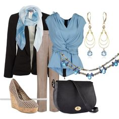 I love the draped and tied sleeveless blouse and the necklace and earrings all in a medium sky blue.