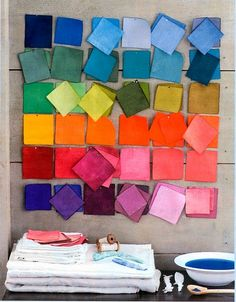 I should make a color board like this with swatches of hand dyed fabric, and then maybe put the recipes on the back.