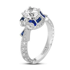 Hand-Engraved Ring, Diamond Round 0.22 Carat 0.35 Carat Sapphires 0.05 Tapered Baguette Sapphires, 1 Carat center stone