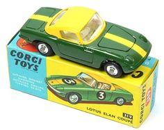 Corgi Toys 319 Scarce Lotus Elan 2 Tone Yellow Hard Top/ DarkGreen yellow stripes