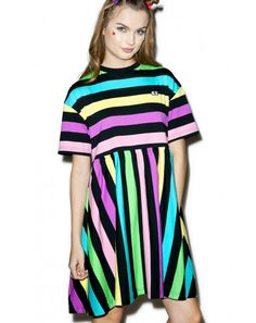 Lazy Oaf Rainbow Stripe Dress | Dolls Kill