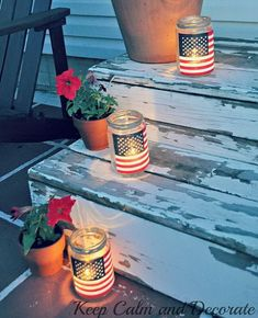 Easy Patriotic Luminaries. Great idea, and so easy and inexpensive. They look so pretty at night. http://hative.com/diy-patriotic-crafts-and-decorations-for-4th-of-july-or-memorial-day/