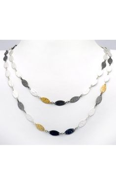 Gurhan 24KT Gold and Silver Signature Hand-hammered Willow Necklace. All-around long necklace with Blackened Silver, White Silver, and 24KT Gold leaf flakes, flat clasp, 100cm in length.