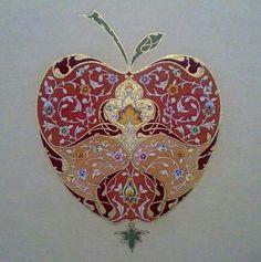 Roya Delnava (Persian) Islamic Motifs, Islamic Art Pattern, Pattern Art, Persian Pattern, Persian Motifs, Arabesque, Illumination Art, Turkish Art, Arabic Art
