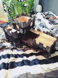 Wooden castle for pet rats. Diy. Dyed with foodcolour.