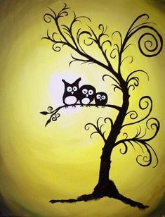 Cutest twirly tree with baby owl silhouette painting in the sunset. Beginner Painting On Canvas, Fall Canvas Painting, Simple Oil Painting, Autumn Painting, Painting & Drawing, Canvas Art, Owl Silhouette, Silhouette Painting, Halloween Painting