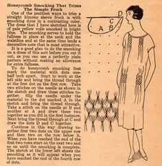 Honeycomb frocking --- Midvale Cottage Post: Pattern of the Week: Another Smocked Frock from the 1920s