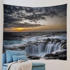 Ocean Hole Print Tapestry Wall Hanging Art Decoration - GRAY W79 INCH * L59 INCH