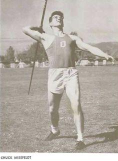 Oregon javelinist Chuck Missfeldt 1951. From the 1951 Oregana (University of Oregon yearbook). www.CampusAttic.com