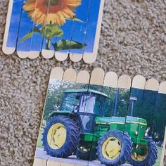 Icy pole stick puzzles. Glue picture or photo onto sticks, carefully cut apart for child to reassemble.