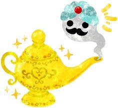フリーのイラスト素材可愛い魔法のランプのイラスト Free Illustration Illustration of the pretty magic lamp http://ift.tt/2cr0LPW