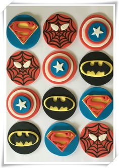 Set of 12 Superheroe Cupcake Toppers by SugaryLand on Etsy