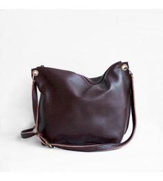 Leather crossbody bag in dark brown Small Shoulder Bag, Chain Shoulder Bag, Leather Shoulder Bag, Prada Bag, Prada Handbags, Women's Crossbody Purse, Brown Bags, Leather Chain, Metallic Leather