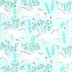 Sarah Jane - Magic Flannel - Unicorn Forest Flannel in Aqua