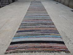 Vintage Rag Rug Kilim RUNNER ,Bohemian Chic Cotton and Recycled Material Hallway Rugs,Old Fashioned Caput Runner Rug 2'5''x13'1'' / 74x400cm