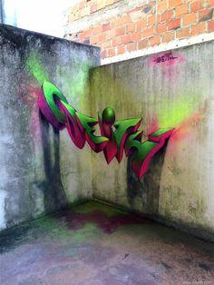 Portuguese artist makes graffiti jumps out of the wall.  O artista português que faz o graffiti saltar do muro.