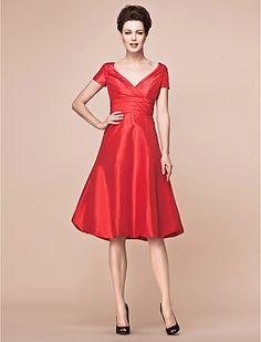 A-line V-neck Knee-length Taffeta Mother Of The Bride Dress - USD $ 99.99