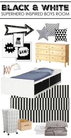 Black & White Superhero Inspired Boys Room Mood Board   [ad]