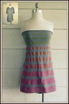 So much potential for customization to such a simple and genius technique. WobiSobi: Striped Strapless, No-sew T-shirt:DIY Umgestaltete Shirts, Sewing Shirts, Sewing Clothes, T-shirt Refashion, Diy Vetement, Do It Yourself Fashion, Refashioning, T Shirt Diy, Diy Clothing