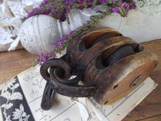 antique industrial large double wood by OutAndAboutVintageII