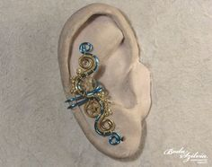 electric STEAMPUNK EAR CUFF - brass and ice blue ear cuff, no piercing ear cuff, steampunk jewelry