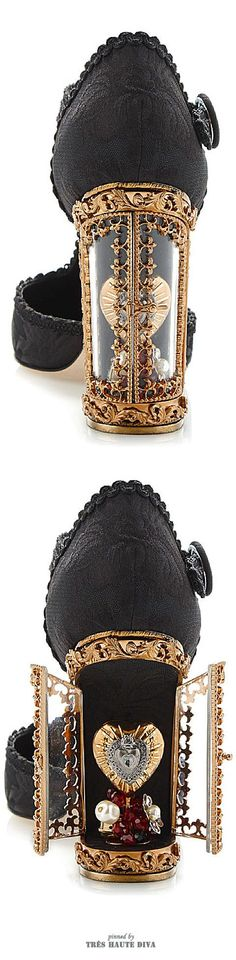 Dolce & Gabbana Black Jacquard T-Strap Mary Jane With Window Pane Pump ♔ SS 2015 ♔ Tres Haute Diva