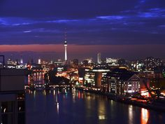 #Berlin at night, #Germany    © Robert Debowski, Wikimedia Commons
