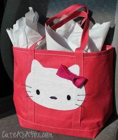 Cute As a Fox  Hello Kitty Applique gift bag Diy Bag Cover 10db3ae1bb6d1
