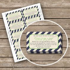 Bring a Book Shower Insert Card | Book Shower | Modern Stripes Green and Navy Shower | Library Shower | 3.5x2 | Printable Instant Download by SimplyPutPrintables on Etsy