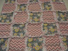 Darling Flowery with Cheveron Baby Girl Rag Quilt Blanket