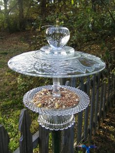 Crystal Apple Bird Feeder Flower Plates, Glass Flowers, Glass Birds, Garden Whimsy, Garden Totems, Glass Garden Art, Glass Art, Yard Art, Garden Projects
