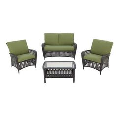 Martha Stewart Living - Lanfair 4 Piece Conversation Set - - Home Depot Canada Classic Home Furniture, Best Outdoor Furniture, Porch Furniture, Rustic Furniture, Industrial Furniture, Furniture Layout, Garden Furniture, Furniture Ideas, Cute Home Decor