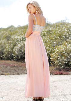 Sequined-Bodice Chiffon Dress - Zip Closure At Back