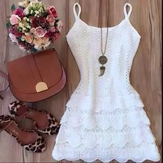 554d355ef Foto Loja Lookstore, Combinação De Roupas, Roupas Casuais, Vestido De Croche  Branco,