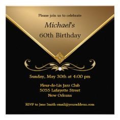 60th Birthday Invitations Elegant Party Blue Parties Adult Gold