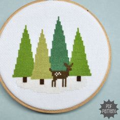 Deer in the Forest Cross Stitch Pattern Download by Sewingseed, $4.00