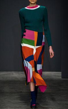 Pardens FW17 Farah Green Wool Sweater €384, Vakda Printed Skirt €588