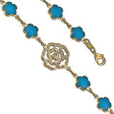 Star Flower Opal w/ Gold Rose 14K Yellow Gold Plated Charm Link Bracelet