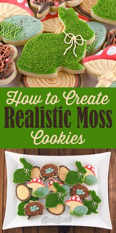 How to Create Realistic Moss Cookies - Semi Sweet Designs Iced Cookies, Cute Cookies, Easter Cookies, Royal Icing Cookies, Easter Treats, Cookies Et Biscuits, Holiday Cookies, Baby Cookies, Heart Cookies