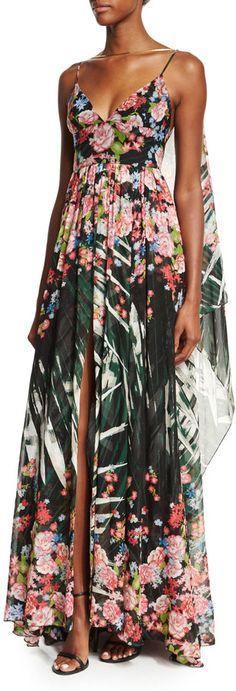 Elie Saab Sleeveless Floral-Print A-Line Gown, Palm Print