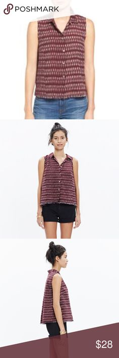 Madewell sleeveless shirt NWT A fresh sleeveless shirt with a swingy fit (see: inverted box pleat in the back). A frayed hem gives this ikat style an artfully cool finish.   True to size. Cotton. Machine wash. Import. Madewell Tops