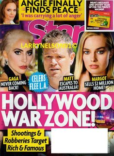 STAR MAGAZINE MARCH 29 2021 HOLLYWOOD WAR ZONE MARGOT MATT GAGA SHOOTINGS TARGET Star Magazine, Shooting Targets, Digital Magazine, Finding Peace, Angelina Jolie, For Stars, In Hollywood, Celebrity News, The Help