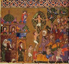 Assyrian manuscript illustration shows Christ's entry into Jerusalem. Dates back to 13th ce Nineveh, Iraq.