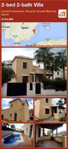 2-bed 2-bath Villa in Ciudad Quesada, Alicante (Costa Blanca), Spain ►€154,995 #PropertyForSaleInSpain