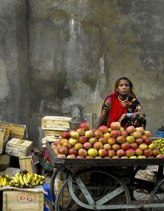 fruit seller, Pushkar, India, during the annual Camel Fair.