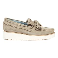 df94600db4f Grenson Women s Nikita Suede Tassle Loafers - Earth ( 195) ❤ liked on  Polyvore featuring