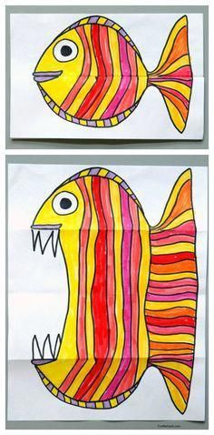 Art for kids, easy art projects by carlani - Citrus - - Folding Fish paper art project. Art for kids, easy art projects by carlani Folding Fish paper art project. Art for kids, easy art projects by carlani Club D'art, Art Club, Paper Art Projects, Easy Art Projects, Project Projects, Drawing Projects, Art Project For Kids, Kids Craft Projects, Paper Crafts Kids